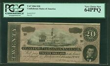 CSA CONFEDERATE CURRENCY  1864 $20  T-67, CERTIFIED PCGS UNCIRCULATED CU64-PPQ!