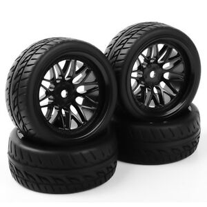 4X Tires&Wheel Rim Set 12mm Hex Rubber For HSP RC 1/10 Scale On Road Racing Car