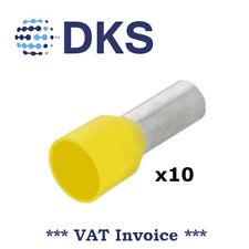 25mm Ferrule Yellow 16mm Long Bootlace Ferrule Insulated QTY=10 000195