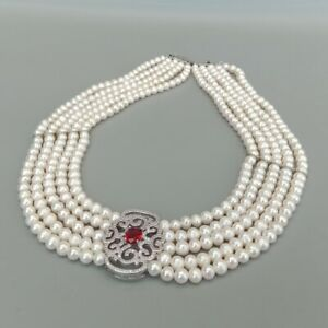 5 Strands White Pearl Necklace Cubic Zirconia Pave Pendant Fashion Women Jewelry