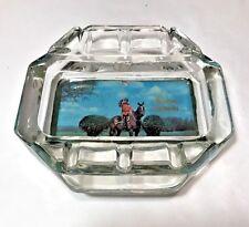 Vtg Quebec Canada Kenora Glass Ashtray Mountie Gold Full Color Heavy Felt