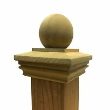 "Pressure Treated Wood Garabaldi Ball Post Cap for 3.5"" x 3.5"" Fence & Deck Posts"