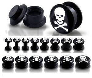 New Novelty Black Acrylic Screw fit Ear Tunnel Plug with Skull & Crossbones Logo