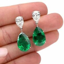 4.0Ct Pear Emerald & Simulated Diamond Drop Earring 14k White Gold Finish Silver