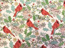 Christmas FQ Fat Quarter Fabric Robin Bird Tags 100% Cotton Quilting