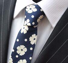 Corbata Corbata Delgada Azul Marino Con Blanco Apagado pensamiento Floral Algodón De Calidad T6144