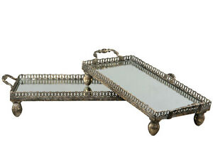 Spiegel-Tablett Deko-Schale Shabby chic vintage Landhaus Metall Gold Nostalgie