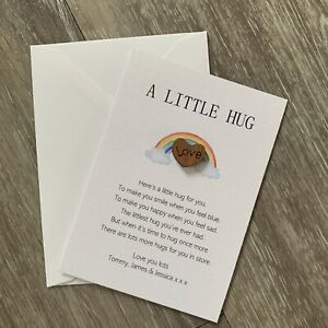 Tiny Little Pocket Hug with personalised poem, isolation gift,miss you, love you