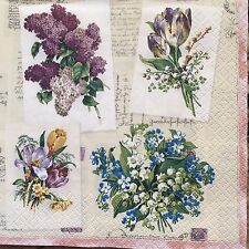 2 single paper napkins for decoupage crafts or collection Flower Violet Camomile