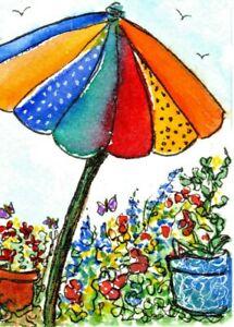 ACEO  Umbrella Flower Garden Illustration Bright Colors Naive Art Penny StewArt