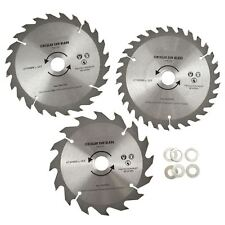 3pc 150mm TCT Circular Saw Blades 16/24/30 TPI & Adapter Rings Reducer TE866