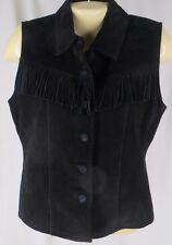 Small Black Fringed Suede Vest Sleeveless Top Leather Festival Boho Hip Vintage