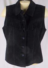 Small Black Fringed Suede Vest Sleeveless Top Leather Festival Boho Hip Vintage