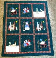 "Christmas Quilt Handmade Wall Hanging Throw Applique 48"" x 57"""