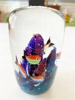 Art Glass Paperweight Fish Aquarium Seascape Blue Purple Orange