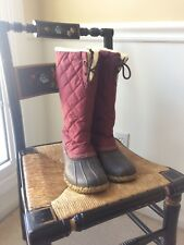 LL BEAN QUILTED DUCK BOOTS MAROON WOMEN'S SIZE 8 M LLBEAN