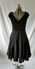 Adrianna Papell Black Womens Pleated A-Line Off The Shoulder Dress Size 8