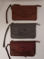 GENUINE LUCKY BRAND BROWN COGNAC CHIMAYO LEATHER WRISTLET CLUTCH WALLET $78 MSRP