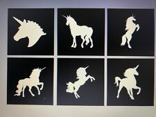 X6 Unicorn Stencil Glass Craft Etched Vinyl Sticker Silhouette Glitter Tattoo