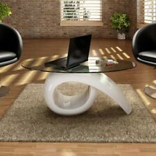 New Modern High Gloss Glass Top Coffee Table White Side Dinner Office Kitchen