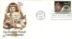 U.S. 1988 DOMESTIC CATS #2373 Se-tenant Single on an ArtCraft FDC Cachet U/A