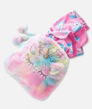 New JUSTICE Plush UNICORN Fluffy BLANKET In A Bag NWT