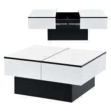 Couchtisch Tisch Beistelltisch Wohnzimmertisch Sofatisch Staufach Schwarz / Weiß