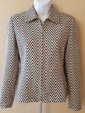 Dana Buchman Petite Chevron Black White Blazer Jacket Gold Zipper Down Size 4