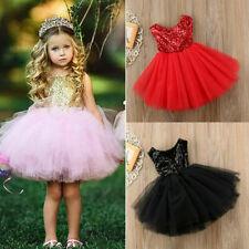 Kids Girl Baby Sequin Tulle Tutu Princess Dress Party Bridesmaid Wedding Dresses
