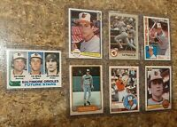 (7) Cal Ripken 1982 Topps Fleer Donruss Rookie 1983 1984 2nd Card Lot RC Orioles