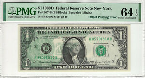 1969 D $1 FEDERAL RESERVE NOTE NEW YORK OFFSET PRINTING ERROR PMG CH UNC 64 EPQ
