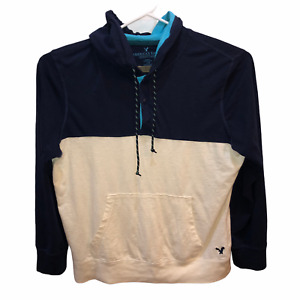 American Eagle Outfitters Mens Large Blue Ivory Classic Fit Hooded Shirt Hoodie