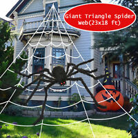 23X18 ft Huge Giant Triangle Spider Web Halloween Outdoor Yard Scary decorations