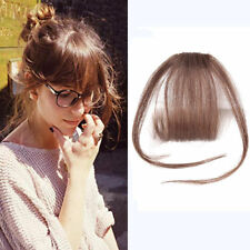 UK Thin Air Bang Remy Human Hair Extensions Clip In Fringe Hairpiece Women