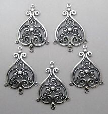 #1730 ANTIQUED SS/P FILIGREE 4 RING CHANDELIER COMPONENT - 6 Pc Lot