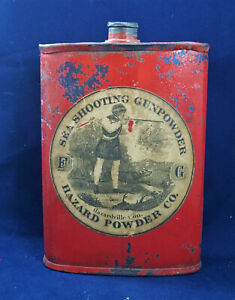 Large Antique SEA SHOOTING GUNPOWDER - Hazard Powder Co. FG  Gunpowder tin