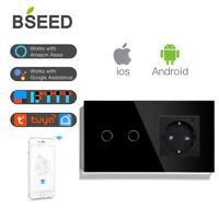 BSEED WIFI 2Fach Lichtschalter Wlan Steckdose Touch Schalter mit Wandsteckdosen