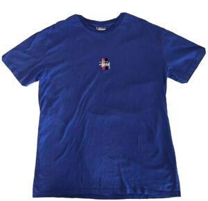 Stussy T Shirt Blue Embroidered Logo Men's L