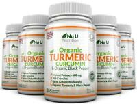 Organic Turmeric Curcumin 600mg 5 BOTTLES 365 Capsules With Organic Black Pepper