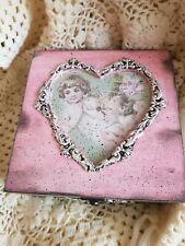 Shabby chic,vintage box, wooden, handmade, jewellery storage,angels