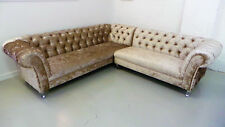 Chesterfield Ecksofa Couch Polster Garnitur Sofa Ecke Ledersofa Textil 161013-02
