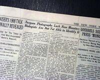 LOCH NESS MONSTER Surgeon's Photo Nessie Scotland Lake 1ST REPORT 1934 Newspaper