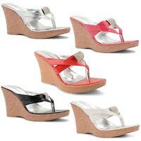 New Ladies High Wedge Heel Toe Thong Diamante Flip Flop Sandals Size UK 3-8