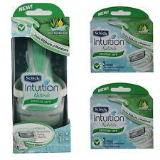 New Schick Intuition Naturals Sensitive Care Pack 1 Razor Handle + 8 Cartridges