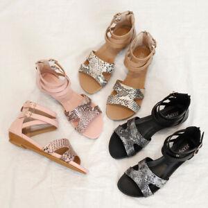 Women Wedge Sandals Snake Strap Roman Shoes Casual Flat Heel Zip Shoes Plus Size