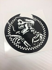 SKA Skull Printed Sticker Fits Vespa PX Toolbox Van Ska Mod Skinhead 125mm