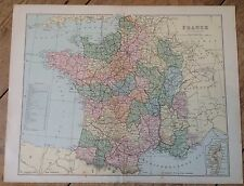 Anni 1870? WILLIAM MACKENZIE incisa Mappa della Francia 12.25 x 9.5