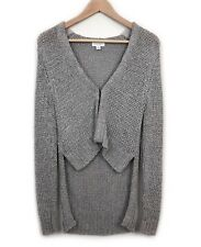 Witchery Grey Knit Cardigan Size S Draped Back Long Sleeve Hook Closure Womens