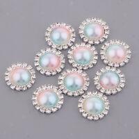 10X Rhinestone Crystal flower Button Pearl Flatback DIY Brooch Embellishment
