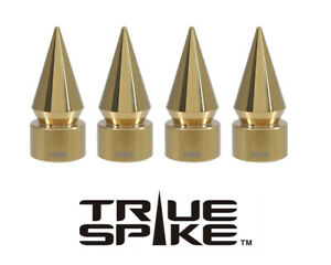 4 TRUE SPIKE GOLD SPIKED TPMS WHEEL AIR VALVE STEM COVER CAP FOR NISSAN